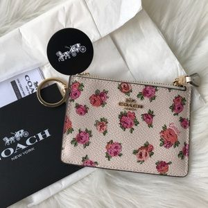 Coach Card Case with Key Ring Vintage Rose